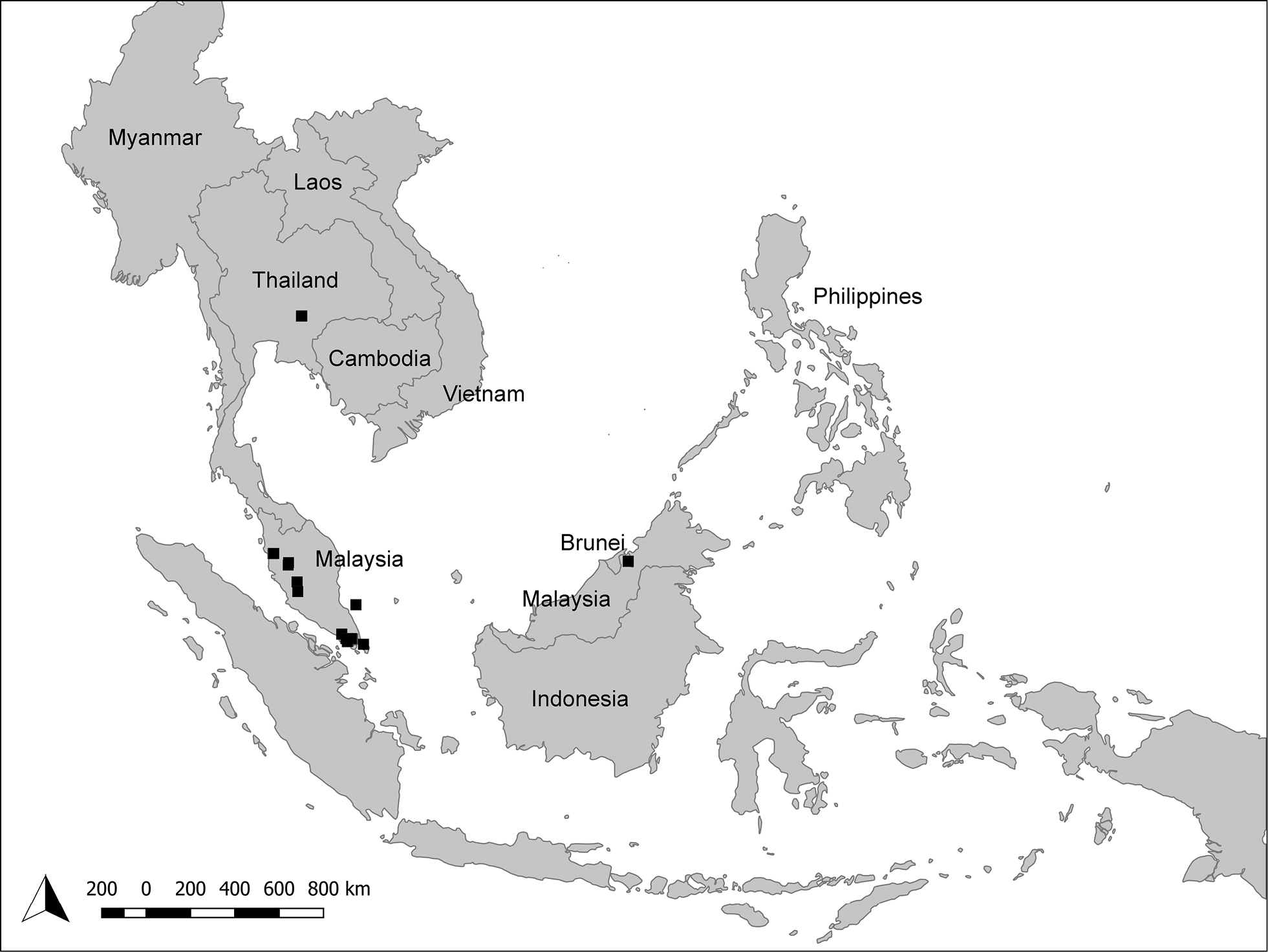 Map Of Asia 800.Overlooked Flower Visiting Orthoptera In Southeast Asia